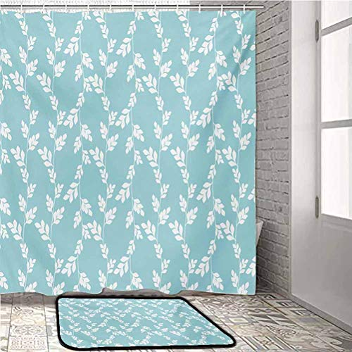 alisoso Rustic Kids Bathroom Decor Sets with Shower Curtains and Rugs Rural Meadow Field Yard Wildflowers Farmhouse Style Cottage Countryside Garden Kitchen Carpet Pale Blue White