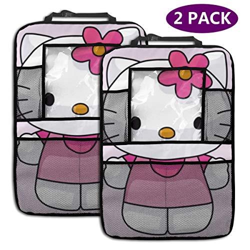 TBLHM Little Hello Kitty Lot de 2 Sacs de Rangement pour siège arrière de Voiture avec Support pour Tablette