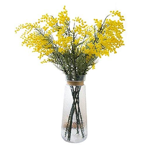 Htmeing 5 künstliche Blumen Mimose Spray Pudica Akazie Bouquet Home Hochzeit Dekoration gelb