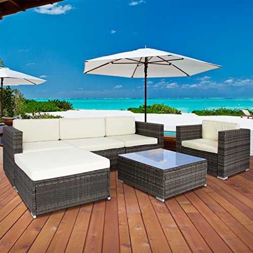 Best Choice Products 6PC Outdoor Patio Garden Wicker Furniture Rattan Sofa Set Sectional Grey