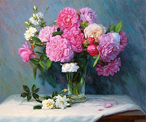 Lege doe-het-zelf schilderen op cijfers voor volwassenen, pioenrozen, bloemen, schilderset, voor beginners, nieuw schilderwerk, 40 x 50 cm, zonder lijst