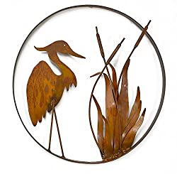 Oregardenworks Heron and Cattails Metal Sculpture