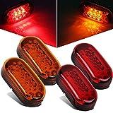 Partsam 2 Amber + 2 Red 12V 4' x 2' Oval Led Truck Side Marker Light Surface Mount 10 Diodes, Sealed Trailer Led Clearance and Side Marker Lights, Black Base, Rectangular Rectangle Led Lights