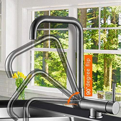 Grifo giratorio de cocina con ventana interior, grifo de agua fría y caliente plegable, grifo mezclador de cocina de ventana baja negra, manija única