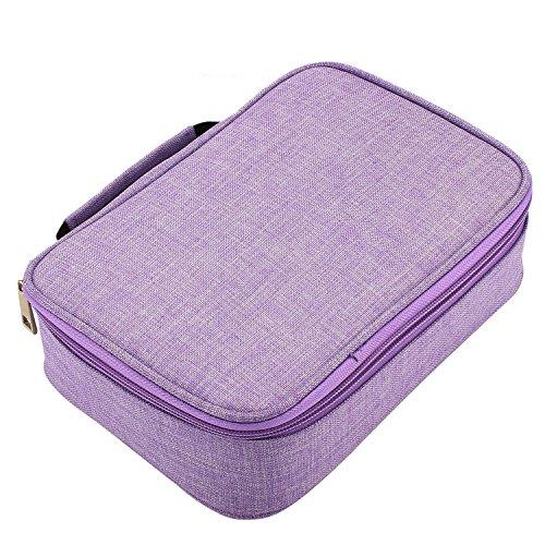 Soucolor Colored Pencil Case Holder Multifunction Pencil Zipper Pouch Pen Bag Pencil Pen Box 72 Slot(Purple)