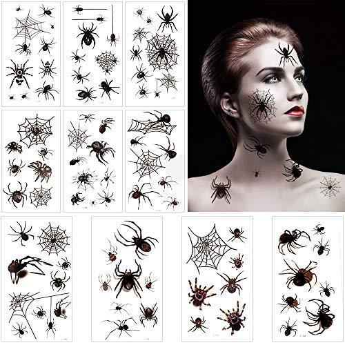 Eyscoco Halloween Spinnen Tattoos, 10 Blatt Temporäre Schwarz Spinnen Tattoos Gesicht Spinnweben Tattoos Damen Spinnenweben Spinnennetz Temporäre Tattoos für Halloween Maskerade Karneval Party