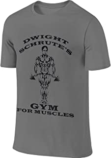 Dwight Schrute's Gym for Muscles Men's Short Sleeve T-Shirt Graphic Tshirts Tee Deep Heather