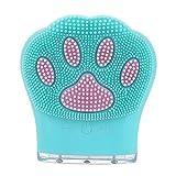 CLKJ Cepillo Limpiador Facial de Silicona, Cepillo Limpiador Facial Vibrante sónico, para Limpieza Profunda, exfoliación Suave y Masaje, 5 velocidades Ajustables,Blue