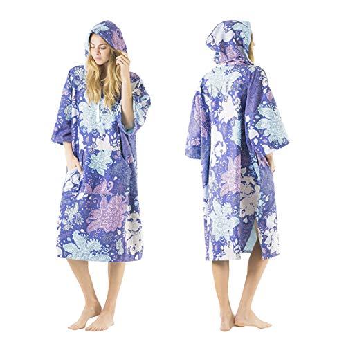 Vivida Lifestyle – Bedrucktes Kapuzen Poncho Handtuch mit Quickdry Fabric und Easy Underarm Access, Große Tasche mit Reisverschluss für den Strand, zum Surfen, Schwimmen & Triathlon (Blue Leaf, S-M)