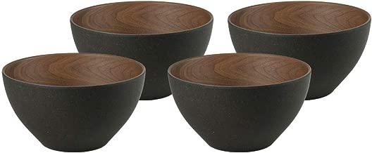BIOZOYG Cuencos de bambú Bio tazón de Cereales Juego de 4 Antracita 12 x 6,5 cm Redondos 300 ml I vajilla ecológica de bambú decoración Casquillo de Fruta cuberto de Madera de Ensalada