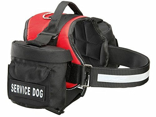 "Doggie Stylz Service Dog Harness with Removable Saddle Bag Backpack Carrier Traveling Carrying Bag. 2 Removable Patches. Please Measure Dog Before Ordering. Made (Girth 24-31"", Red)"