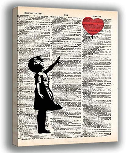 ALLUCKII Banksy Graffiti Art GIRL Red Heart BALLOON Valentine Moving On Letting Go Poster Nordic product image