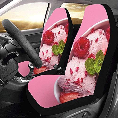 Protector de asiento de coche con forma de bola de helado de fresa rosa