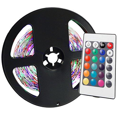 YWXLIGHT 1PCS 5M 36W 300 LED 3528 SMD non-impermeabilizzano i controlli RGB luce luminosa normale della striscia 24Key della barra chiara luminosa di luminosità LED (DC 12V)