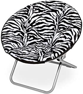 Mainstay Faux-Fur Saucer Chair (Zebra)