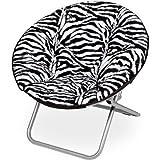 Mainstay Faux-Fur Saucer Chair (Zebra)