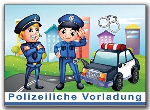 Einladungskarten Polizei Kindergeburtstag Jungen Mädchen Jungs Einladung - 10 Stück Kinder Einladung Geburtstag Polizeiauto