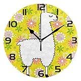 ALLdelete# Wall Clock Nettes Alpaka-Lama mit Gänseblümchen-runder Wanduhr, stille Nicht tickende...