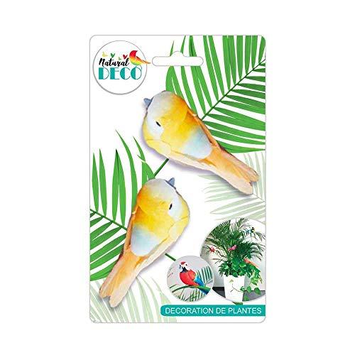 STC Déco Plantes – Lot de 2 Oiseaux Orange A CD3846