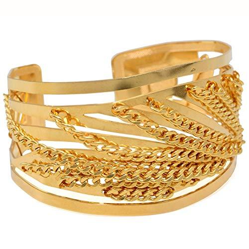 Pulseira Dourada Bracelete Ondas E Corrente
