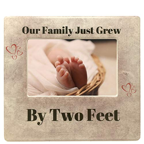 BANBERRY DESIGNS New Baby Frame - Our Family Just Grew by Two Feet - Heart Design with Tan Marble Like Background - Nursery Decor - 4 X 6 Picture Opening