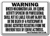 WASHINGTON Equine Sign activity liability warning statute horse farm barn stable