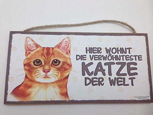 DIE VERWÖHNTESTE KATZE DER WELT - ROT - HOLZSCHILD MDF 25x12,5 cm 58 CAT