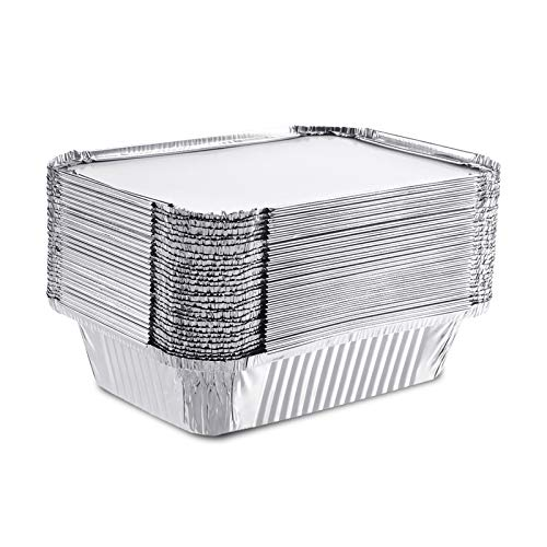 Tvird 50 Pack Aluminum Foil Pans, Rectangle Grill Tin Foil Pans with Cardboard Lids, Disposable Steam Table Pans for Baking, Cooking, Heating, Storing, Meal Prep