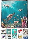 arteneur® - Meeres Schildkröten - Anti-Schimmel Duschvorhang 180x200 mit Öko-Tex Standard 100 - Beschwerter Saum, Blickdicht, Wasserdicht, Waschbar, 12 Ringe und E-Book