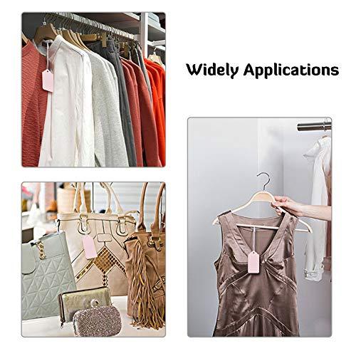 NBEADS 1000Pcs 2 Colores Etiquetas de Tela, Blanco y Negro Precio Tamaño Etiqueta de Marca Cordón Colgante con Cierre para Camisa Vestido Bolso Decoración de Prendas