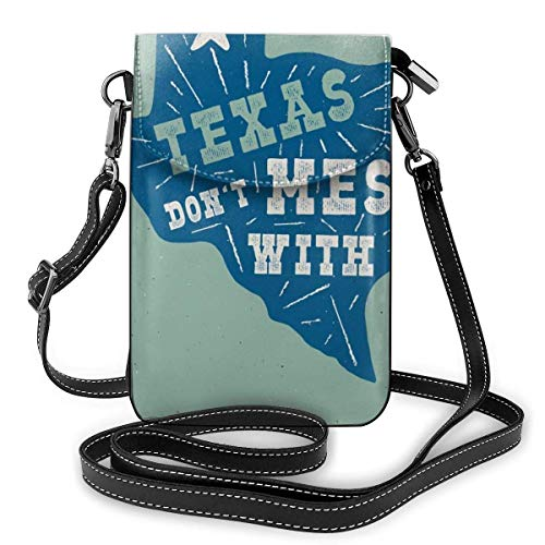 Lawenp Small Crossbody Cell Phone Purse for Women,Texas State Badge - Don't Mess with Texas Quote Inside Shoulder Bag Wallet with Credit Card Slots