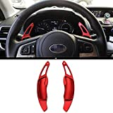 2Pcs Aluminum Shift Paddle Blade Car Steering Wheel Paddle Shifter Extension Cover For Subaru BRZ Impreza WRX Legacy XV Crosstrek (Red)