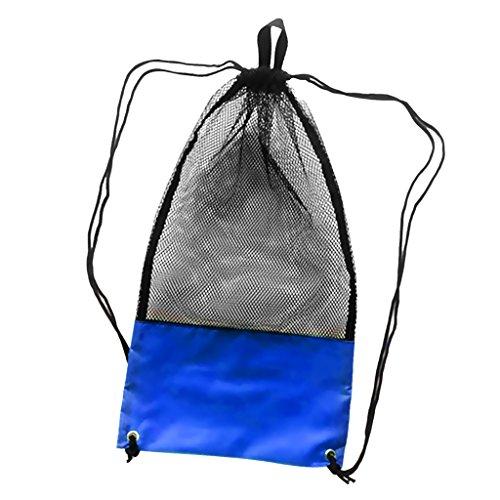 Netzbeutel Mesh Bag, Netztasche (48 x 27 cm) für Erwachsene Tauchen Schnorcheln Schwimmen Ausrüstung Rucksack Aufbewahrungsbeutel Tragetasche Flossentasche - Blau