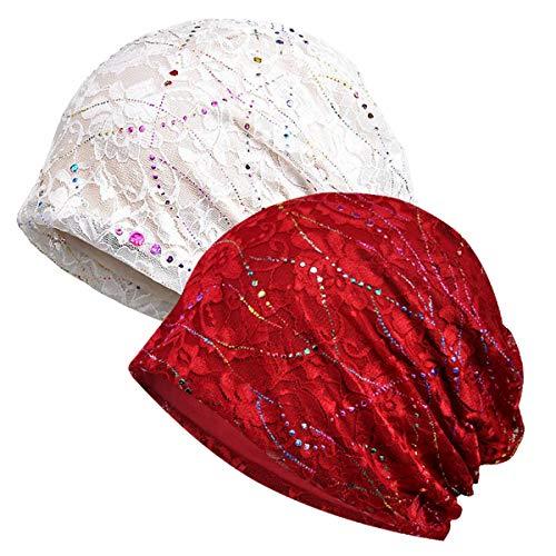 WELROG Chemo Hut Frau Hut Spitzen Kopftuch Super Weich Slouchy Turban Kopfbedeckungen Kopf Wraps (Weiß/Weinrot)