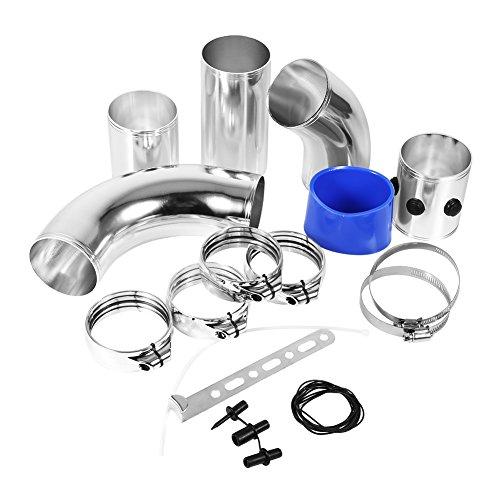 Kit de tuyau d'entrée d'air réglable et universel - 7,6 cm - En alliage d'aluminium - Système d'injection directe turbo pour filtre à air froid