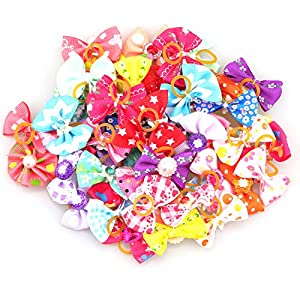 Lainrrew 50 Pcs/ 25 Pairs Dog Bows, Colorful Dog Hair Bow with Rubber Band Rhinestone Flower Bowtie Pet Hair Bow for Puppy Dog Cats Hair Accessories