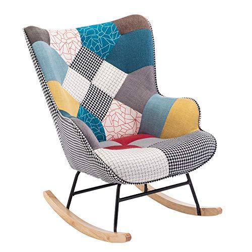 LHY Save - Sillón de balancín moderno hecho a mano, con reposapiés, silla relax Lounge para salón, dormitorio, Without Stool