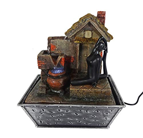 GiftsRDecor Tabletop Fountain Yoga Meditation Near Hut and Water Falling Roof