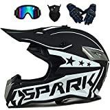 LCRAKON Cascos de Motocross MJH-02 Casco Moto Niño Adulto Homologado Dot Cascos Integrales Hombre Mujer para Enduro Quad Bike Bici Motos Electricas Minimoto BMX ATV con Gafas Descenso - Negro Blanco