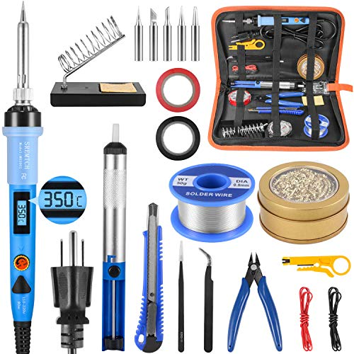 Electronics Soldering Iron Kit, 80W LCD Digital Soldering Gun with Adjustable Temperature Controlled and Fast Heating Ceramic Thermostatic Design, ON-Off Switch 20pcs Solder Kit and Welding Tool