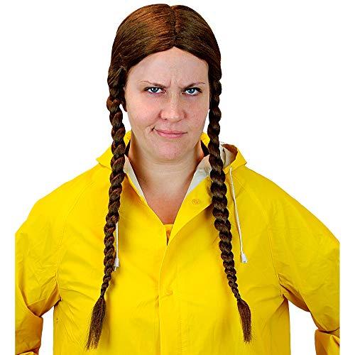 Widmann 59981 - Perücke Greta, Aktivistin, lange Haare, geflochtene Zöpfe, braun, Kleidungszubehör, Frisur, Karneval, Mottoparty
