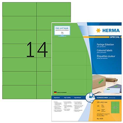 HERMA 4559 Farbige Etiketten DIN A4 (105 x 42,3 mm, 100 Blatt, Papier, matt) selbstklebend, bedruckbar, permanent haftende Farbetiketten, 1.400 Klebeetiketten, grün