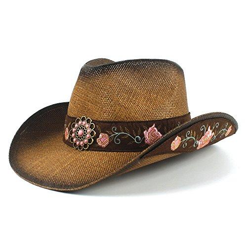YAJIE-Sombrero, para el Sol, Sombrero de Vaquero Occidental de Paja de