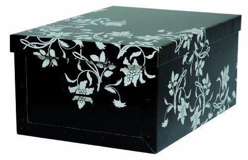 """XXL Dekokarton mit modernem Muster """"Barock Blumen Schwarz"""" - Tolles Motiv für den ganzen Haushalt! Edel und hochwertig! Mit Griffen zum Tragen und XXL Volumen!"""