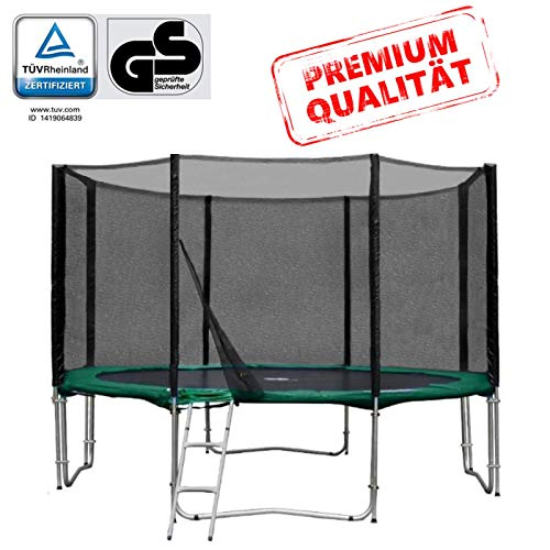 Baunsal GmbH & Co.KG Gartentrampolin Trampolin 366 bis 370 cm in grün mit Sicherheitsnetz und Einstiegsleiter