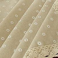 Manteles de lino y algodón rectangulares para mesa, estilo simple, multiusos, para interiores y exteriores, White Chrysanthemum, 55'' Wide*80'' Length (140*203 CM)