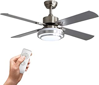 Warmiplanet 52-inch indoor ceiling fan with integrated LED lighting kit and remote control, four reversible white/silver b...