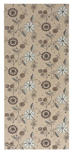 "26"" x 60"" All Design's Cushioned Non-Slip/Rubber Backing Floral Brown Color Aqua Runner/Doormat (Easy Cut to fit in Your Hallway, Bathroom, or Kitchen) AQ459-01-2x5"