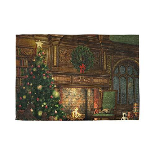 XiangHeFu Hittebestendige Home Placemat Decor 12x18inx1 Niet Slip Winter Vakantie Open Haard Kerstboom Tafelmat Makkelijk schoon te maken
