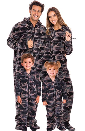 Alexander Del Rossa Women's Warm Fleece One Piece Footed Pajamas, Adult Onesie with Hood, Large Black Gray Camouflage Footed (A0322ACSLG)
